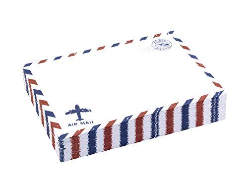 BeeChamp 50pcs Self-Sealing Gummed Vintage Airmail Style Invitation Envelopes, ()