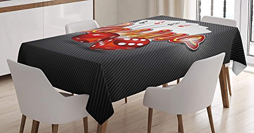 (Poker Tournament Decorations Tablecloth Linen Decor Table Cover for Kitchen Dinning Room Rectangle Oblong Tablecloths 54 W X 87 L Inch, Vibrant Dices and Playing Card Casino Theme Luck Risky Game)