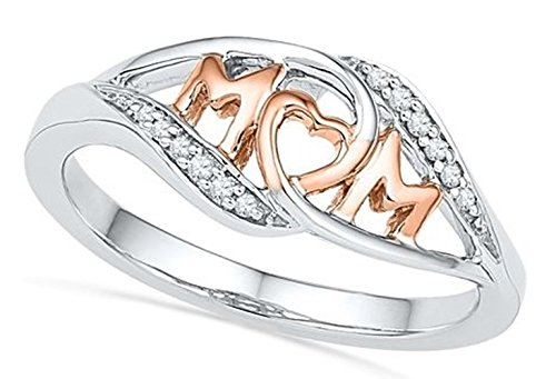Haolong Fashion Heart-shaped Mum 18K Rose Gold Ring For Mother,Perfect Gift (Rose Gold, 10) ()
