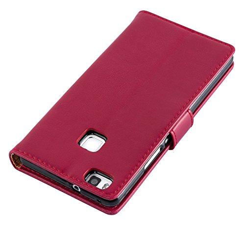 Cadorabo - Funda Estilo Book Lujo para Huawei P9 LITE con Tarjetero y Función de Soporte - Etui Case Cover Carcasa Caja Protección en NEGRO-GRAFITO ROJO-BURDEOS
