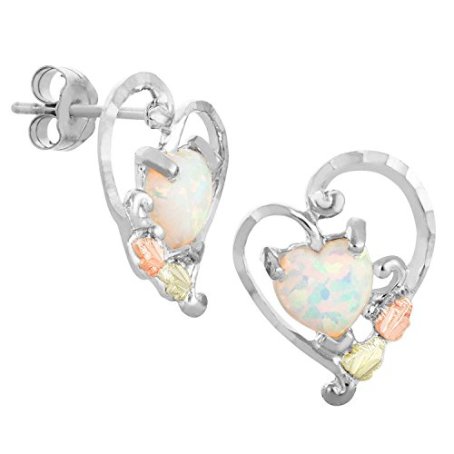 Created Opal Heart Earrings, Sterling Silver, 12k Green and Rose Gold Black Hills Gold Motif by Black Hills Gold Jewelry
