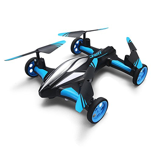 MKLOT JJRC H23 Flying Car Drone Air Ground Dual Mode Quadcopter 3D Flips 6-Axis RTF w/One-Key Return Headless Mode Led Lights Helicopter Best Gift for Boys Kids Children – Blue