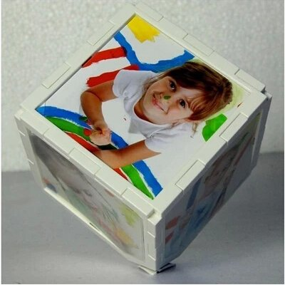 Rotating Magic Cube Photo Frame White 5 Inch Baby Picture Frames