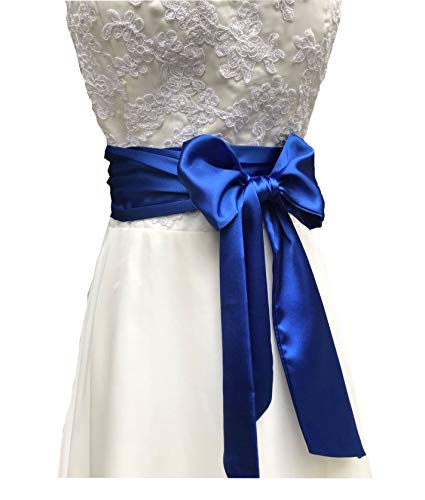 Eyrie Special Occasion Dress sash Bridal Belts Wedding sash 4'' Wide Double Side (Royal Blue)