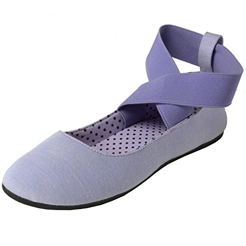 Ankle Strap Flat Shoes (alpine swiss Peony Womens Ballet Flats Elastic Ankle Strap Shoes Lilac 9 M US)