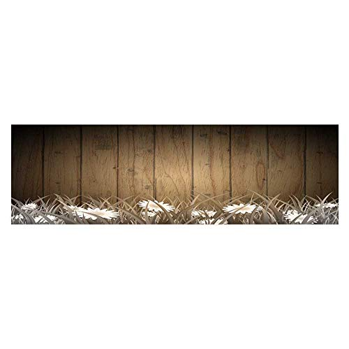 Fish Tank Background Decor Static Image Backdrop Wallpaper Sticker Cling Decals Antique Old Planks American Style Western Rustic Wooden and white daisies, thick growth of grass Wallpaper Sticker Back