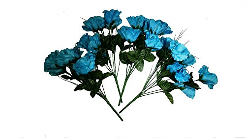 MM TJ Products Artificial Roses Bush: 7 stems Pack of 4 (Turquoise) (Flower Arrangements Turquoise)
