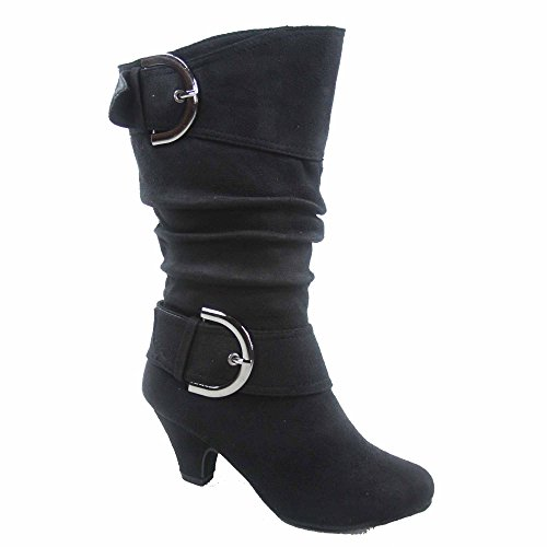 Lucky Top Auto-8k Girl's Youth Fashion Round Toe Low Heel Slouch Buckle Zipper Boots Shoes (2, Black)