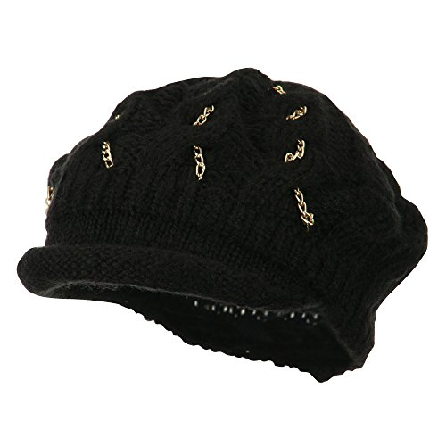 SS/Hat Rolled Brim Tam Beret with Gold Chains - Black OSFM -
