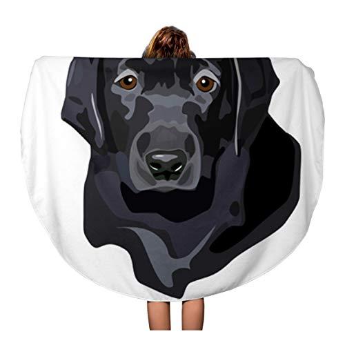 Semtomn 60 Inches Round Beach Towel Blanket Labrador of Black Lab Puppy Portrait Dog Retriever Head Travel Circle Circular Towels Mat Tapestry Beach Throw