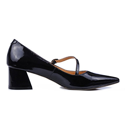 Nine Seven Womens Genuine Leather Pointed Toe Chunky Heel Handmade Glossy and Comfortable Fashion Pumps