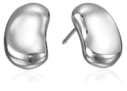 Sterling Silver 9mm Rhodium Plated Bean Stud Earrings Sterling Silver Bean