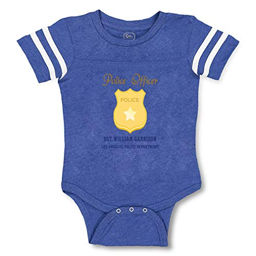 Personalized Custom Police Officer Police SGT Badge Cotton Contrasting Stripes Crewneck Boys-Girls Baby Football Bodysuit Sports Jersey - Royal Blue