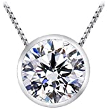 "1/2 Carat Bezel Set Diamond Pendant Necklace (H-I Color, I1 Clarity, 0.5 ctw) w/ 16"" silver chain"