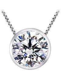 "1/2 Carat Bezel Set Diamond Pendant Necklace (H-I Color , I1 Clarity , 0.5 ctw) w/ 16"" silver chain"