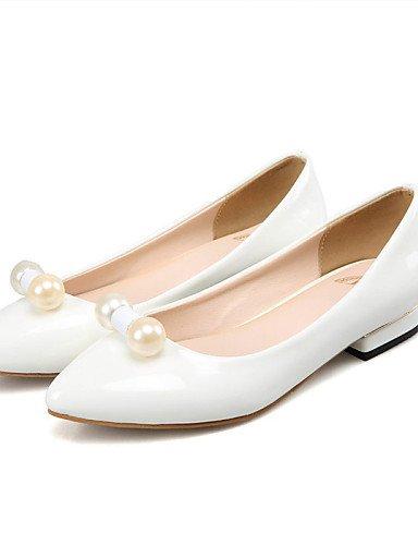 de de plano PDX black mujer Toe oficina cn32 rojo blanco us3 talón 5 casual y charol zapatos uk1 punta eu33 5 negro almendra Flats carrera vestido dExEtqrHYw