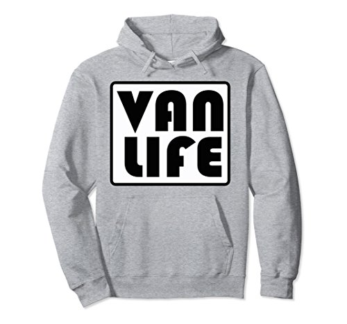 Unisex VAN LIFE OFFICIAL BRAND PROMO VINTAGE LOGO PULL OVER HOODIE Small Heather Grey
