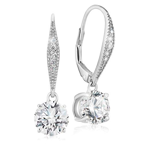 Silver Sterling Pave Setting (Lusoro 925 Sterling Silver Round AAA Cubic Zirconia Pave Leverback Dangle Earrings)
