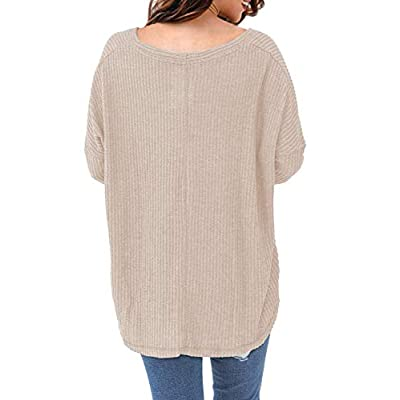 MIHOLL Womens Loose Blouse Short Sleeve V Neck Button Down T Shirts Tie Front Knot Casual Tops at Women's Clothing store