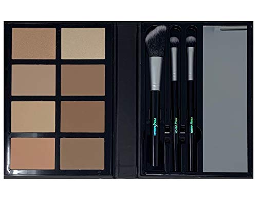 Profusion Cosmetics – Contour – Professional 8 Color Palette – Face Powder Highlighter Bronzer Makeup Kit Brushes Included – Champagne Highlight Nutmeg Ivory Peach Pale Gala Moonstone Java Ebony