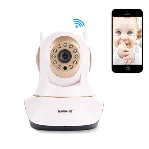 Martheroll Video Baby Monitor,Wireless IP Camera Home Security Camera 720P HD Night Vision(Gold)