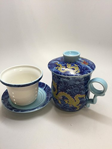 Music City Tea Dragon Tea Cup Blue office cup 4 pcs best seller tea cup best gift (Music City Gifts)