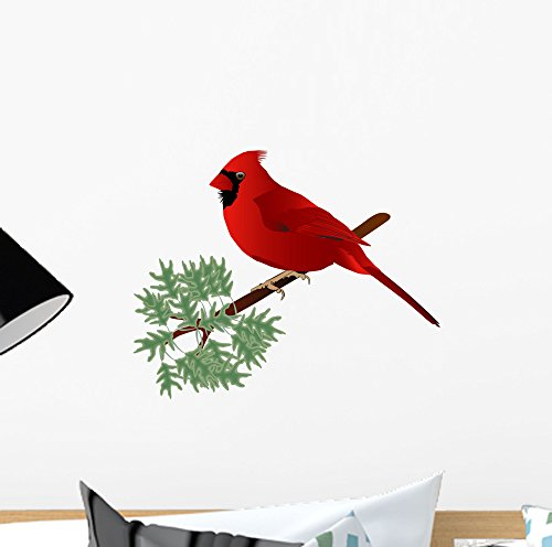Wallmonkeys Male Cardinal Wall Decal Peel and Stick Animal Graphics (12 in H x 11 in W) WM3197
