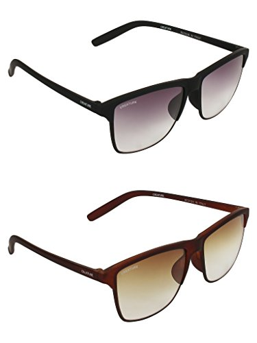 CREATURE Black and Brown Matt Finish Unisex Sunglasses Combo with UV Protection (Lens-Purple & Brown||Frame-Black/Brown…