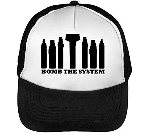Bomb The System Gorras Hombre Snapback Beisbol Negro Blanco