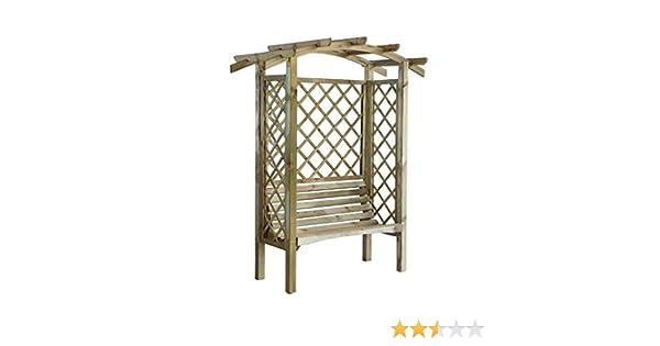 Cenador de madera con banco, lados enrejados y techo en forma de ...