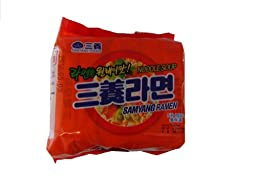 5 - Pieces of Samyang Ramen Hot Beef Flavor Noodle Soup, 4.23 Oz, 120g X5, Made in Korea