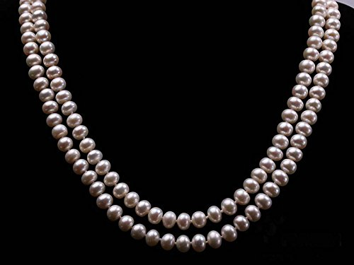 JYX Classic Double-row Flatly Round White Freshwater Cultured Pearl Necklace (7mm) by JYX Pearl (Image #5)