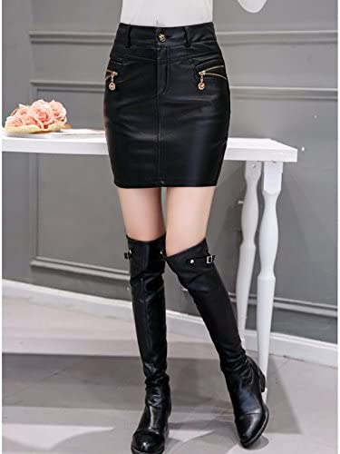 XiaoGao Black PU leather skirt