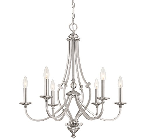 Chandelier Ceiling Savannah (Minka Lavery 3336-84 Minka Contemporary Modern Six Light Chandelier from Savannah Row Collection in Pwt, Nckl, B/S, Slvr.Finish, 26.00 Inches B/S 26.00 Inchessix)