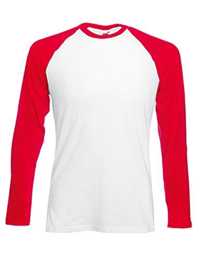 Fruit of the Loom Baseball Langarm ( Longsleeve ) T-Shirt S M L XL XXL Weiss - Rot,XL