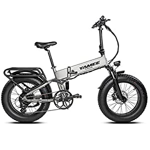 YAMEE Folding Electric Bike Fat Tire Adult Ebikes 500W 4.0 Fat Tire Electric Bicycles 28MPH Adults Ebike with Removable 11.6Ah Battery All-Terrain Off-Road Bike Snow Bike