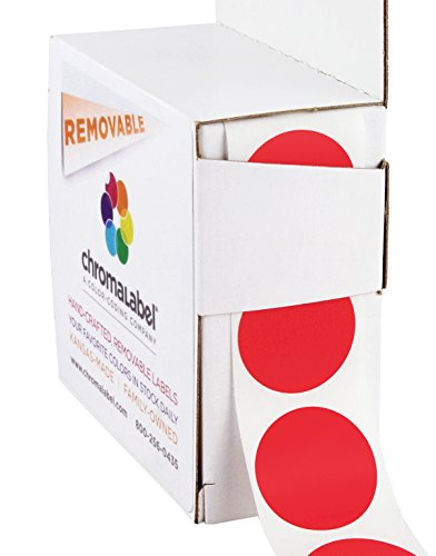 ChromaLabel 1 inch Removable Color-Code Dot Labels | 1,000/Dispenser Box (Red)