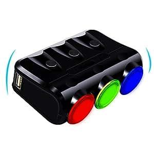 Adaptador de mechero de coche, topist enchufe de encendedor de cigarrillos adaptador cargador USB de coche con un botón para cada Socket Extension de mechero de portátil con dos puertos USB para Coche Socket Adaptador