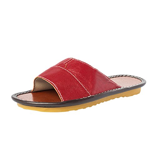 Haisum Women's Summer Leather Slippers Closed Toe Resilient Anti-Slip Rubber Sole House Sandals by Haisum