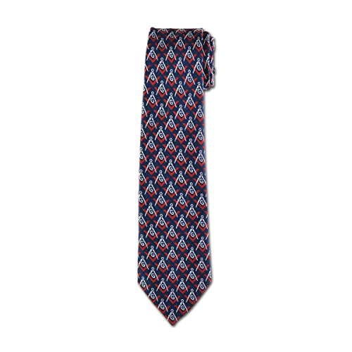 (Blue & Red Square & Compass Masonic Neck Tie)