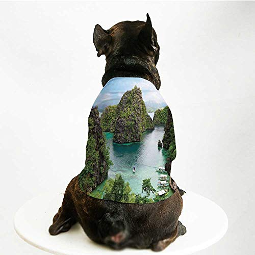 (YOLIYANA Ocean Island Decor Comfortable Pet Suit,Landscape of Majestic Cliff in Philippines Wild Hot Nature Resort Off Picture for Teddy Chihuahua)