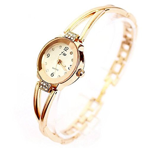 Women Rose Gold Plated Alloy Rhinestone Dial Bracelet Wrist Watch Gift Gold - 1