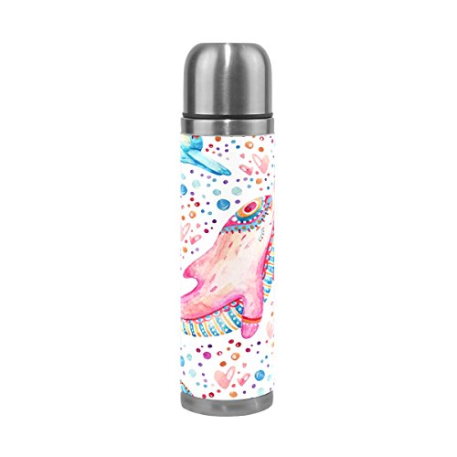 ALAZA Pink Dolphin Stainless Steel Water Bottle Leak Proof Vacuum Insulatied Thermos Flask Travel Coffee Mug Genuine Leather Cover 17 Oz