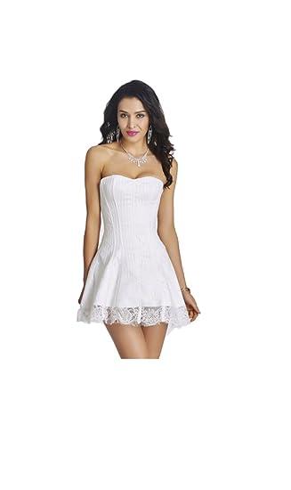 Plus Size Pure White Lace Corset Dresses Amazoncouk Clothing