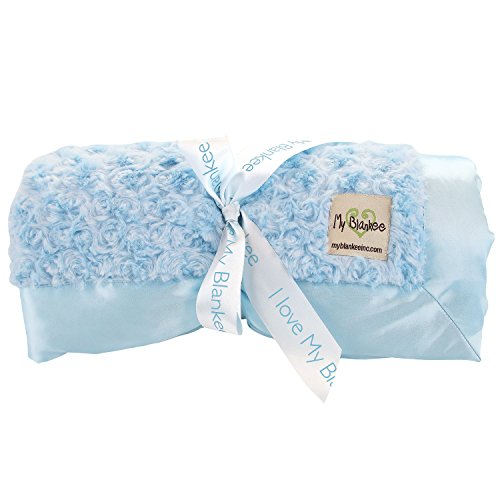 My Blankee Snail Luxe Twin Blanket with Flat Satin Border, Blue, 59'' X 85''