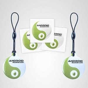 Androidbands NFC Tags - Paquete de 3 etiquetas y 2 llaveros NFC para smartphones