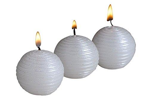 Biedermann & Sons White Glitter Mini Ball Candles (Box of 12)