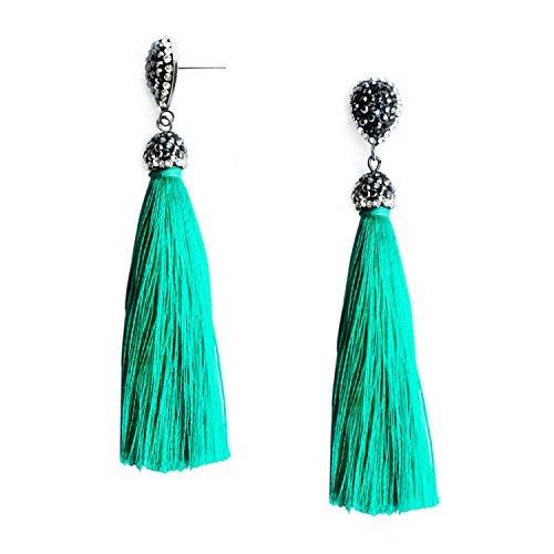 Turquoise Green Tassel Earrings Boho Fringe Dangle Earrings with Black Diamond Girls Women Jewelry