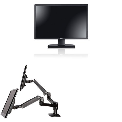 Two Dell UltraSharp U2412M 24-Inch Screen LED-Lit Monitors Bundled with AmazonBasics Dual Side-by-Side Mounting Arm