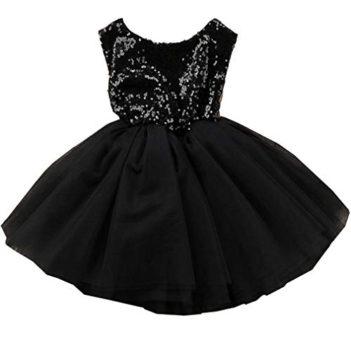 Toddler Girl Baby Lace Flower Sequin Tutu Dress Tulle Pageant Wedding Party Formal Girls Dresses Black 0-6M ()